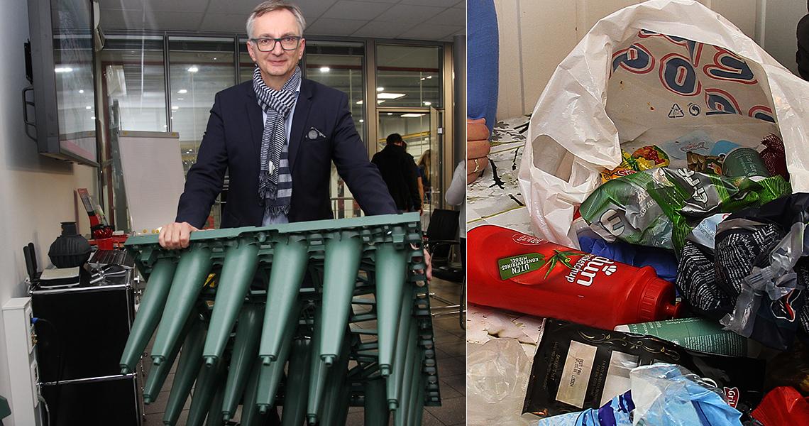 mann med drening laget av resirkulert plast