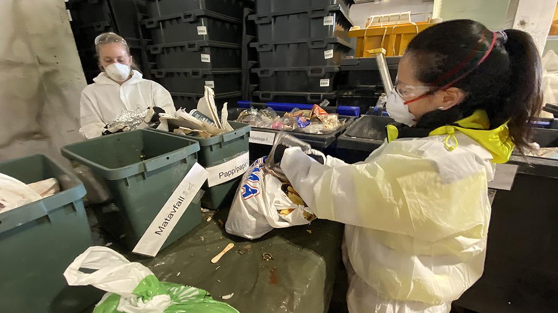 To damer analyserer avfall