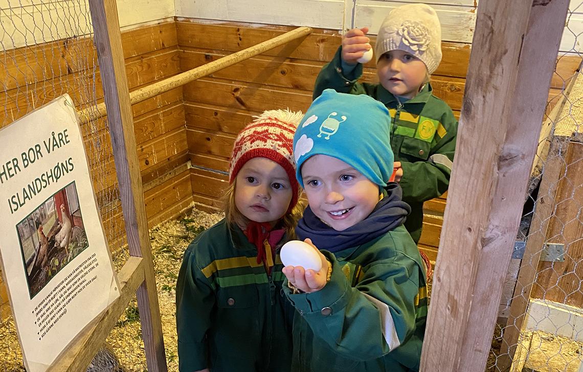 Tre barn i hønsegården
