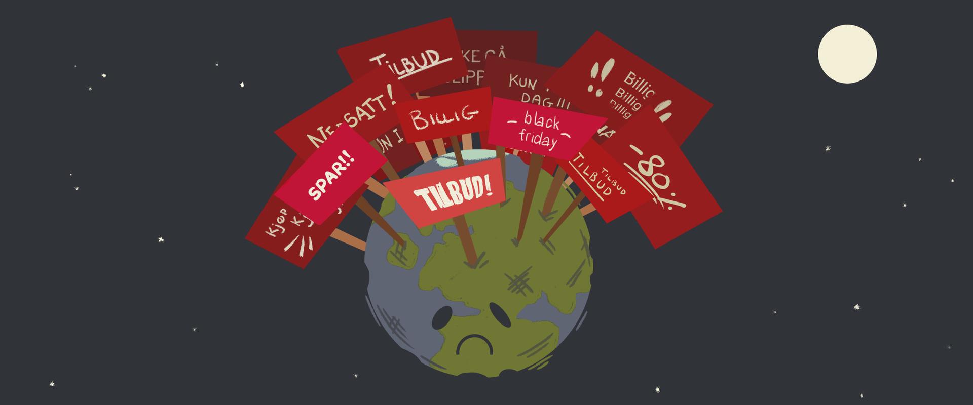 Illustrasjon av jordklode og overforbruk