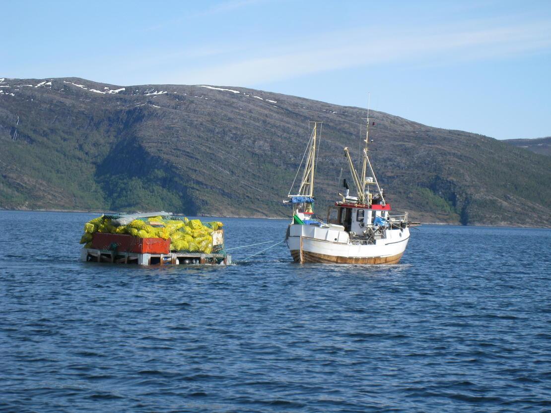 Velforeningen på Rørstad i Sørfold fraktet avfallet på flåte til Røsvik der Iris hentet det.